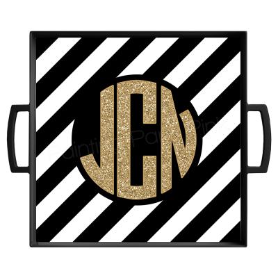 Diagonal Stripe Monogram Gold Glitter Black Tray