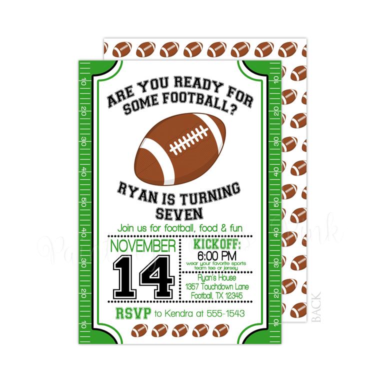 Football Field Birthday Or SuperBowl Party Invitation