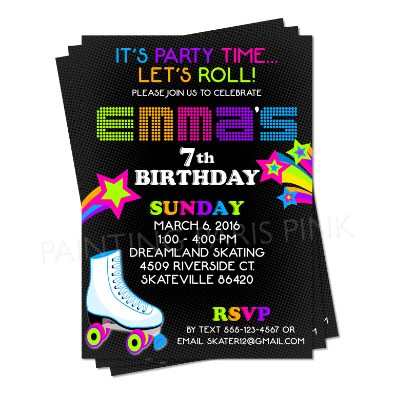 Neon Roller Skating Birthday Party Invitation