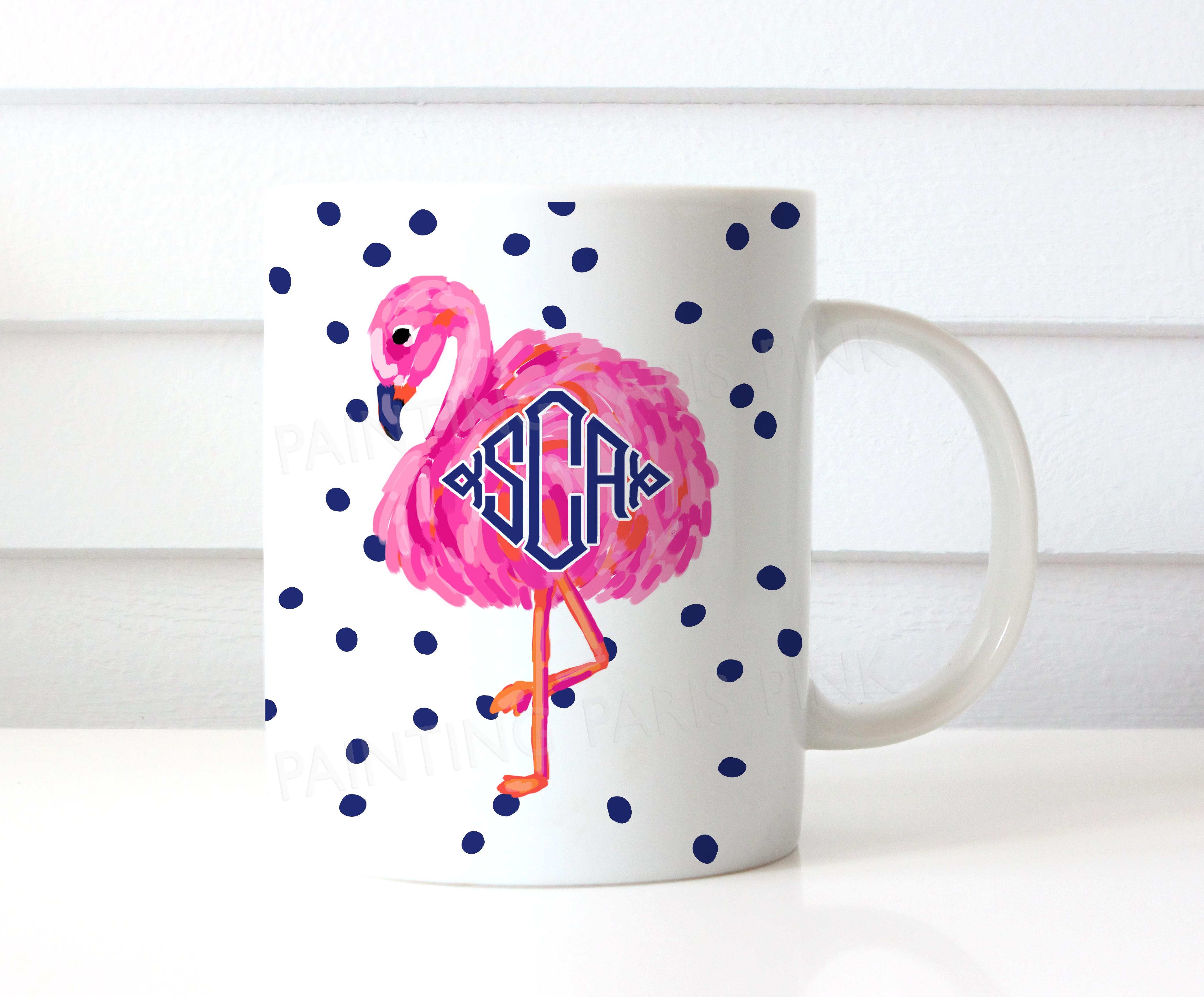 15 Ounce Flamingo Monogram Ceramic Coffee Mug
